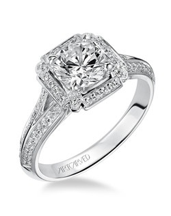 Tatiana, Contemporary Diamond halo engagement ring with split knife edge shank and bezel set surprise stones under center. Available in Platinum, 18K and 14K gold. Price listed below is for the setting only. Settings can be custom made to fit any size or shape center stone. Matching band available - Style number V476W-L