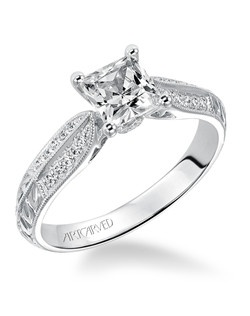 Roxi, Prong Set Hand Engraved with Milgrain and Diamond Accent Engagement Ring. Available in Platinum, 18K and 14K gold. Price listed is an estimate for the setting only. Most settings can be custom made to fit different size or shape center stone. Matching band available - Style number V512W-L