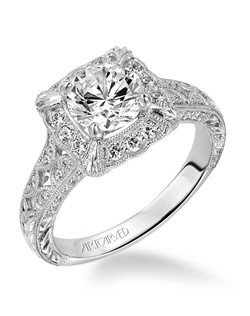 Alura, 2013 Limited Edition Vintage Halo Princess Cut Prong Set with Hand Engraving and Milgrain Engagement Ring. Available in Platinum, 18K and 14K gold. Price listed below is for the setting only. Total weight of semi-mount 3/8 Ct. Settings can be custom made to fit any size or shape center stone. Matching band available - Style number V516FRW-L