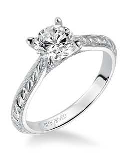 Cherry, Vintage Hand Engraved Solitaire Diamond Engagement Ring with Milgrain Detail. Available in Platinum, 18K and 14K gold. Price listed is an estimate for the setting only. Most settings can be custom made to fit different size or shape center stone.