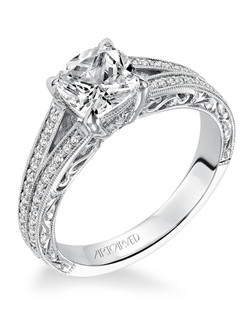 Vivienne, Vintage inspired diamond engagement ring with split shank and hand engraved milgrain and filigree details. Available in Platinum, 18K and 14K gold. Price listed is an estimate for the setting only. Most settings can be custom made to fit different size or shape center stone.  Matching band available - Style number V555W-L