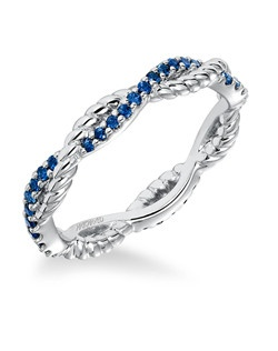 Contemporary prong set diamond and rope detail braided band with blue sapphires. Can be worn as stackable ring, wedding or anniversary band. Price listed is an estimate only.