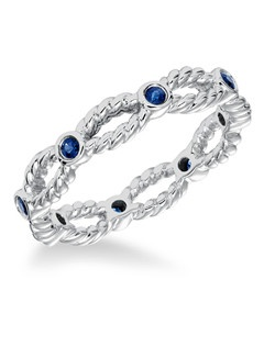 Contemporary bezel set diamond band with rope detail and blue sapphires. Can be work as stackable ring, wedding or anniversary band.