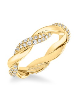Contemporary pave diamond and gold twisted band totaling 1/2 carat. Can be worn as stackable ring, wedding or anniversary band. Available in white (33-V13C4W65-L), yellow (33-V13C4Y65-L) and rose (33-V13C4R65-L ) gold. Price listed is an estimate only.