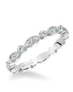 Prong Set with Milgrain Diamond Eternity Band. Can be worn as stackable ring, wedding or anniversary band. Price listed is an estimate only.