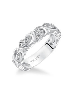 Diamond Anniversary Band with Leaf and Vine Design with Milgrain Accents. Price listed is an estimate only.
