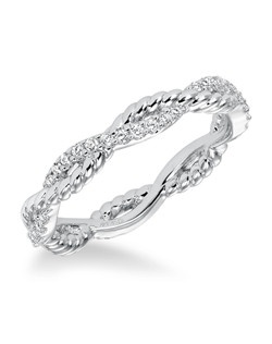 Contemporary prong set diamond and rope detail braided band totaling 1/4 carat. Can be worn as stackable ring, wedding or anniversary band. Available in white (33-V15A4W65-L ), yellow (33-V15A4Y65-L) and rose (33-V15A4R65-L) gold.