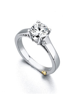 The Angel engagement ring contains 15 diamonds, totaling 0.225 ctw. Center stone sold separately, not included in price. Available in yellow, white, or rose gold, and platinum. Rings can be custom made to fit any size or shape diamond or color center stone. Price excludes center stone