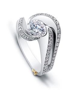 The Brilliance engagement ring contains 58 diamonds, totaling 0.515 ctw. Center stone sold separately, not included in price. Available in yellow, white, or rose gold, and platinum. Rings can be custom made to fit any size or shape diamond or color center stonePrice excludes center stone.