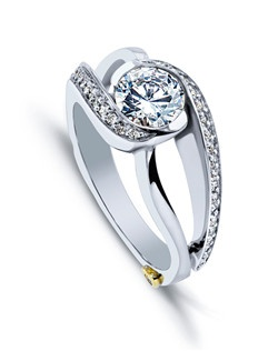 The Cascade engagement ring contains 39 diamonds, totaling 0.195 ctw. Center stone sold separately, not included in price. Available in yellow, white, or rose gold, and platinum. Rings can be custom made to fit any size or shape diamond or color center stone. Price excludes center stone