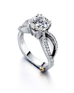The Dazzling engagement ring contains 45 diamonds, totaling 0.185ctw. Center stone sold separately, not included in price. Available in yellow, white, or rose gold, and platinum. Rings can be custom made to fit any size or shape diamond or color center stone.Price excludes center stone