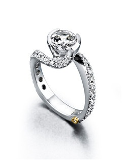 The Endless Love engagement ring contains 31 diamonds, totaling 0.725ctw. Center stone sold separately, not included in price. Available in yellow, white, or rose gold, and platinum. Rings can be custom made to fit any size or shape diamond or color center stone. Price excludes center stone
