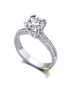 The Enduring engagement ring contains 41 diamonds, totaling 0.25 ctw. Center stone sold separately, not included in price. Available in yellow, white, or rose gold, and platinum. Rings can be custom made to fit any size or shape diamond or color center stone. Price excludes center stone