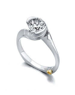 The Fawn engagement ring contains 1 diamond, totaling 0.005 ctw. Center stone sold separately, not included in price. Available in yellow, white, or rose gold, and platinum. Rings can be custom made to fit any size or shape diamond or color center stone. Price excludes center stone