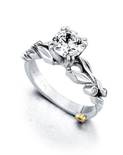 The Florette engagement ring contains 5 diamonds, totaling 0.045ctw. Center stone sold separately, not included in price. Available in yellow, white, or rose gold, and platinum. Rings can be custom made to fit any size or shape diamond or color center stone. Price excludes center stone