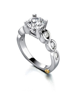 The Forever engagement ring contains 9 diamonds, totaling 0.305ctw. Center stone sold separately, not included in price. Available in yellow, white, or rose gold, and platinum. Rings can be custom made to fit any size or shape diamond or color center stone.Price excludes center stone.