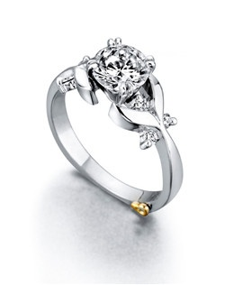 The Garland engagement ring contains 7 diamonds, totaling 0.155ctw. Center stone sold separately, not included in price. Available in yellow, white, or rose gold, and platinum. Rings can be custom made to fit any size or shape diamond or color center stone. Price excludes center stone