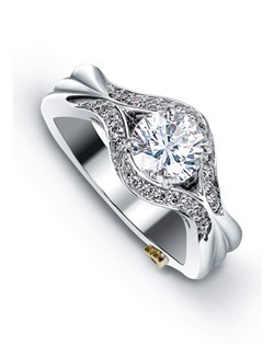 The Imagine engagement ring contains 27 diamonds, totaling 0.205ctw. Center stone sold separately, not included in price. Available in yellow, white, or rose gold, and platinum. Rings can be custom made to fit any size or shape diamond or color center stone. Price excludes center stone