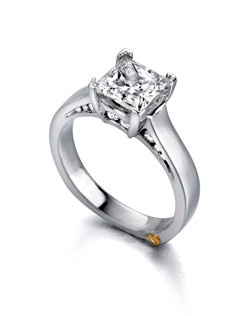 The Inspire engagement ring contains 17 diamonds, totaling 0.245ctw. Center stone sold separately, not included in price. Available in yellow, white, or rose gold, and platinum. Rings can be custom made to fit any size or shape diamond or color center stone. Price excludes center stone