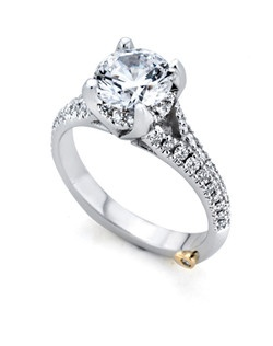 The Kindle engagement ring contains 53 diamonds, totaling 0.325ctw. Center stone sold separately, not included in price. Available in yellow, white, or rose gold, and platinum. Rings can be custom made to fit any size or shape diamond or color center stone. Price excludes center stone