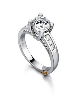 The Romance engagement ring contains 21 diamonds, totaling 0.585ctw. Center stone sold separately, not included in price. Available in yellow, white, or rose gold, and platinum. Rings can be custom made to fit any size or shape diamond or color center stone. Price excludes center stone