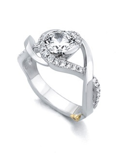 The Scintillate engagement ring contains 33 diamonds, totaling 0.315ctw. Center stone sold separately, not included in price. Available in yellow, white, or rose gold, and platinum. Rings can be custom made to fit any size or shape diamond or color center stone. Price excludes center stone