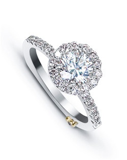 The Sentiment engagement ring contains 29 diamonds, totaling 0.665ctw. Center stone sold separately, not included in price. Available in yellow, white, or rose gold, and platinum. Rings can be custom made to fit any size or shape diamond or color center stone. Price excludes center stone