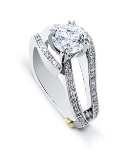 The Shimmer engagement ring contains 65 diamonds, totaling 0.325ctw. Center stone sold separately, not included in price. Available in yellow, white, or rose gold, and platinum. Rings can be custom made to fit any size or shape diamond or color center stone. Price excludes center stone