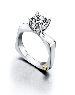 The Unending engagement ring contains 3 diamonds, totaling 0.045ctw. Center stone sold separately, not included in price. Available in yellow, white, or rose gold, and platinum. Rings can be custom made to fit any size or shape diamond or color center stone. Price excludes center stone