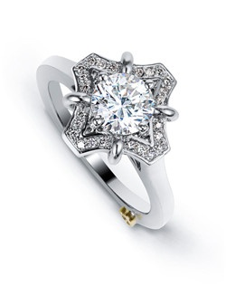 The Wonder engagement ring contains 31 diamonds, totaling 0.19ctw. Center stone sold separately, not included in price. Available in yellow, white, or rose gold, and platinum. Rings can be custom made to fit any size or shape diamond or color center stone. Price excludes center stone