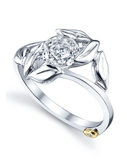 The Wreath engagement ring contains 1 diamond, totaling 0.005 ctw. Center stone sold separately, not included in price. Available in yellow, white, or rose gold, and platinum. Rings can be custom made to fit any size or shape diamond or color center stone. Price includes center stone and setting