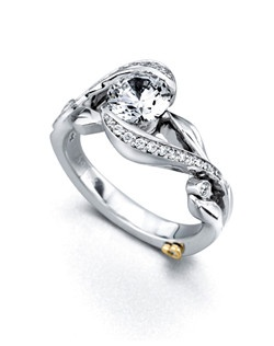 The Zeal engagement ring contains 28 diamonds, totaling 0.125ctw. Center stone sold separately, not included in price. Available in yellow, white, or rose gold, and platinum. Rings can be custom made to fit any size or shape diamond or color center stone. Price excludes center stone