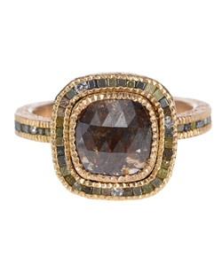 18ky rose gold with fancy cut center stone and raw diamond cubes - alternative views include 18ky gold and palladium.