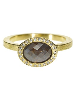 18ky gold ring with oval center stone, white brilliant diamonds set around bezel - alternative views include rose gold,Price includes center stone and setting