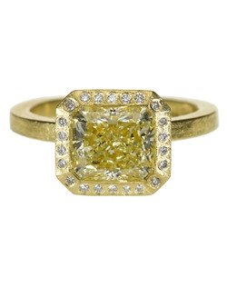 18ky gold, yellow rose cut diamond, white brilliant diamonds around the bezel,Price includes center stone and setting