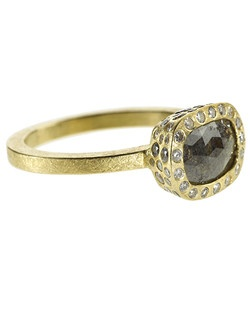 18ky gold, fancy cut diamond and pave diamond bezel(Price includes center stone and setting)