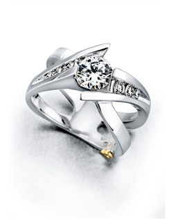 The Elegance engagement ring contains 7 diamonds, totaling 0.285 ctw. Center stone sold separately, not included in price. Available in yellow, white, or rose gold, and platinum. Rings can be custom made to fit any size or shape diamond or color center stone. Price excludes center stone