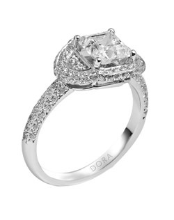 Based on 14K. The fit isF, in size7.00, and the width is2.5 mm. The total diamond weight is 0.749, consisting of: Qty 36 - VS, G/H - 0.008ct. Round diamonds, Qty 31 - VS, G/H - 0.005ct. Round diamonds, Qty 4 - VS, G/H - 0.010ct. Round diamonds and Qty 38 - VS, G/H - 0.007ct. Round diamonds. Multi-Color Ring. Available in 10K, 14K and 18K Gold and Platinum. Gold price is based on 1215 gold. Prices do not include the center diamond.