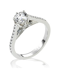 Based on 14K. The fit isCF, in size7.00, and the width is4.5 mm. The total diamond weight is 0.360, consisting of: Qty 6 - VS, G/H - 0.010ct. Round diamonds and Qty 20 - VS, G/H - 0.015ct. Round diamonds. Multi-Color Ring. Available in 10K, 14K and 18K Gold and Platinum. Gold price is based on 1215 gold. Prices do not include the center diamond.