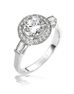Based on 14K. The fit isF, in size7.00, and the width is3.6 mm. The total diamond weight is 0.500, consisting of: Qty 20 - VS, G/H - 0.010ct. Round diamonds and Qty 2 - VS, G/H - 0.150ct. Straight Baguette diamonds.  Multi-Color Ring. Available in 10K, 14K and 18K Gold and Platinum. Gold price is based on 1215 gold. Prices do not include the center diamond.