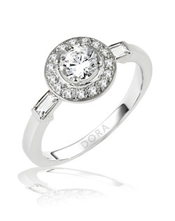 Based on 14K. The fit is F, in size 7.00, and the width is 9.3 mm. The total diamond weight is 0.450, consisting of: Qty 15 - VS, G/H - 0.010ct. Round diamonds and Qty 2 - VS, G/H - 0.150ct. Straight Baguette diamonds. Multi-Color Ring. Available in 10K, 14K and 18K Gold and Platinum. Gold price is based on 1215 gold. Prices do not include the center diamond.