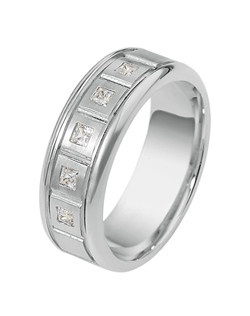 Based on 14K. The fit isCF, in size7.00, and the width is8 mm. The total diamond weight is 0.350, consisting of: Qty 5 - SI, G/H - 0.070ct. Princess diamonds. Gold price is based on 1215 gold. Price includes setting.