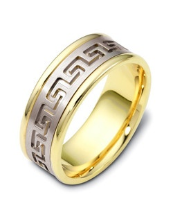 Based on 14K. The fit is FCF, in size 10.00, and the width is 8 mm. Multi-Color Ring. Available in Silver, 10K, 14K and 18K Gold, 18K & Platinum, Titanium,  Silver & Titanium, 10K, 14K or 18K & Titanium, Palladium & Titanium, 14K & Palladium. Gold price is based on 1215 gold.