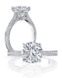 """""""• Handcrafted, custom design • Center stone shapes: Available in all diamond cuts • Pictured with a Round Brilliant cut diamond • Platinum or 18k gold • Colorless pavé diamonds, approx. 0.70 total carat weight • Choice of diamond or gem for The Signature Stone™ exclusively by Jean Dousset"""""""
