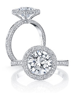 """""""• Handcrafted, custom design • Center stone shapes:  Available in all diamond cuts • Pictured with a Round Brilliant cut diamond • Platinum or 18k gold • Colorless pavé diamonds, approx. 1.04 total carat weight • Choice of diamond or gem for The Signature Stone™ exclusively by Jean Dousset"""""""
