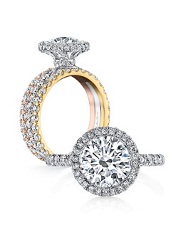 """""""• Handcrafted, custom engagement ring & flush-fitting wedding band • Center stone shapes: Available in all diamond cuts • Pictured with a Round Brilliant cut diamond • Platinum or 18k gold • Colorless pavé diamonds, approx. 1.10 total carat weight • Choice of diamond or gem for The Signature Stone™ exclusively by Jean Dousset"""""""