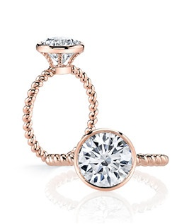 """""""• Handcrafted, custom design • Center stone shapes:  Available in all diamond cuts • Pictured here with a Round Brilliant Cut diamond • Platinum or 18k gold • Choice of diamond or gem for The Signature Stone™ exclusively by Jean Dousset"""""""