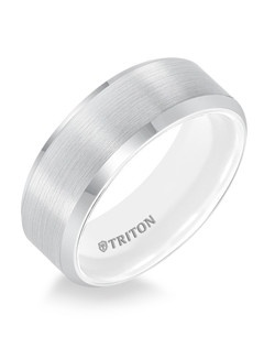 8mm Bevel Edge White TungstenAIR Comfort Fit Band with Arctic White inside color. Price listed is an estimate only.