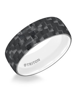 9mm Domed Black Carbon Fiber TungstenAIR Comfort Fit Band with Arctic White inside color. Price listed is an estimate only.