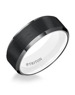 8mm Bevel Edge Black TungstenAIR Comfort Fit Band with Arctic White inside color. Price listed is an estimate only.
